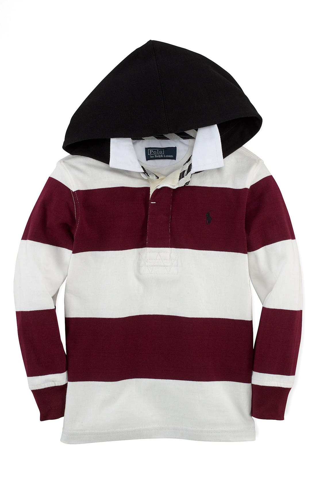 Alternate Image 1 Selected - Ralph Lauren Rugby Stripe Hoodie (Toddler Boys)
