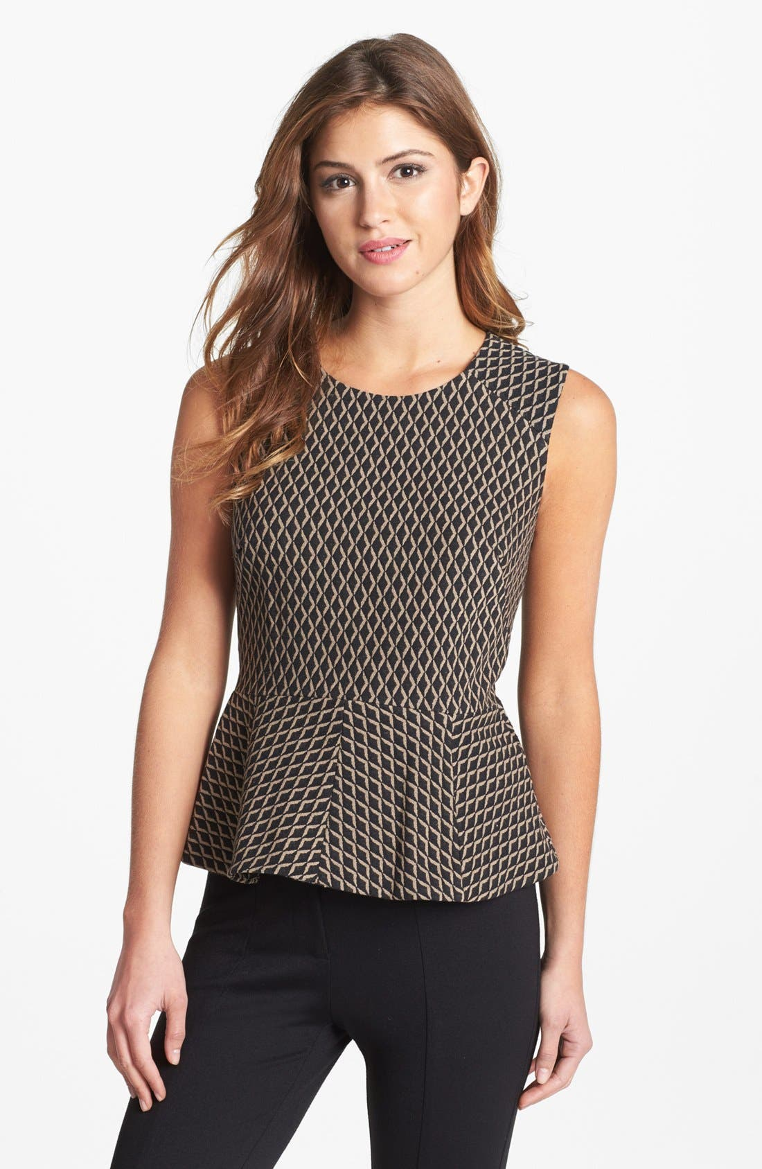 Main Image - Vince Camuto Diamond Print Sleeveless Peplum Blouse