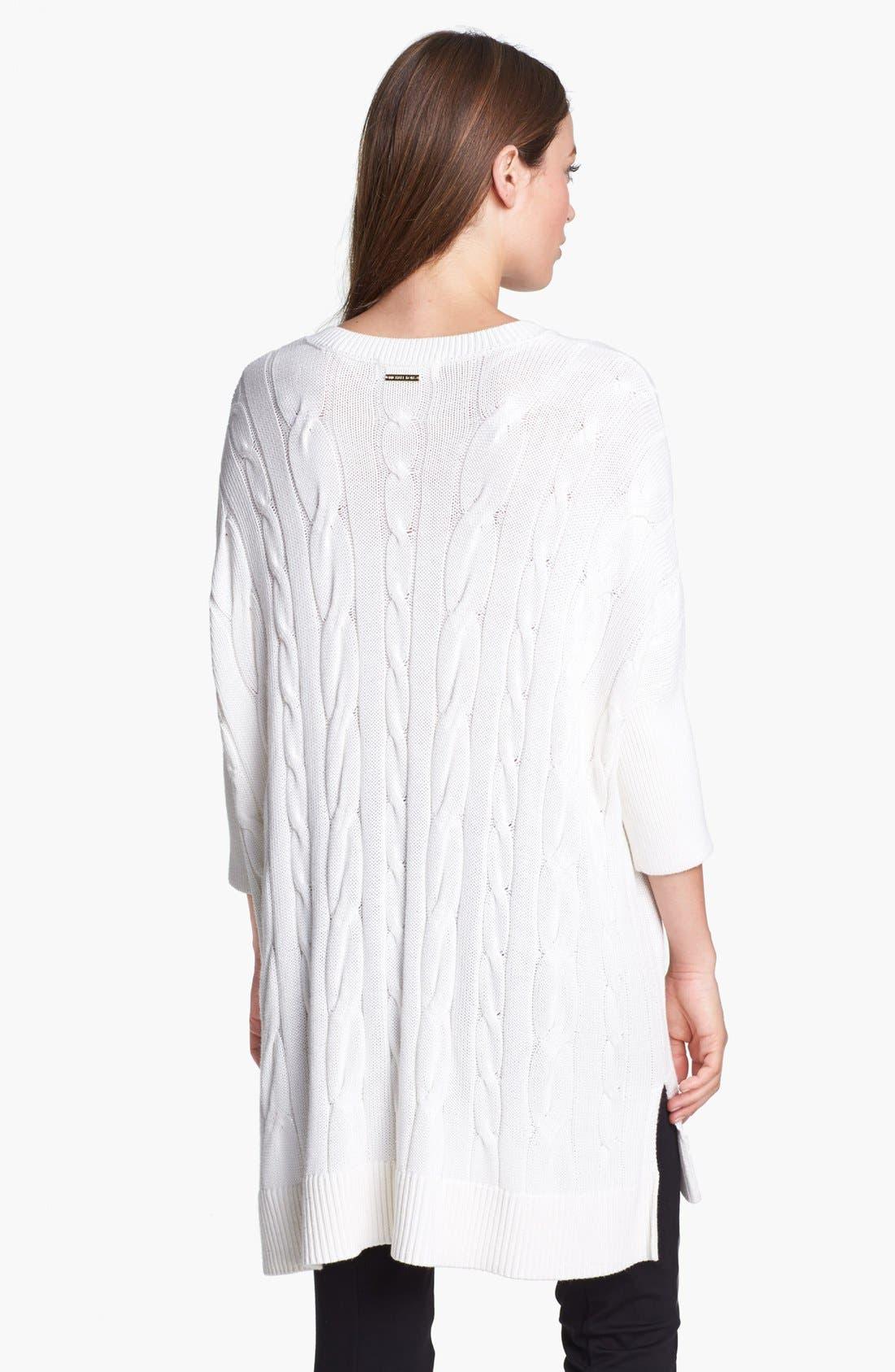 Alternate Image 2  - MICHAEL Michael Kors V-Neck Cable Poncho Sweater