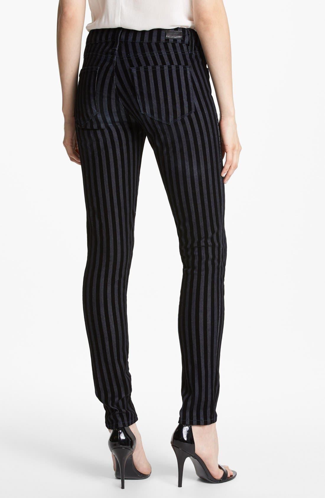 Alternate Image 2  - Paige Denim Flocked Skinny Jeans (Flocked Stripe)