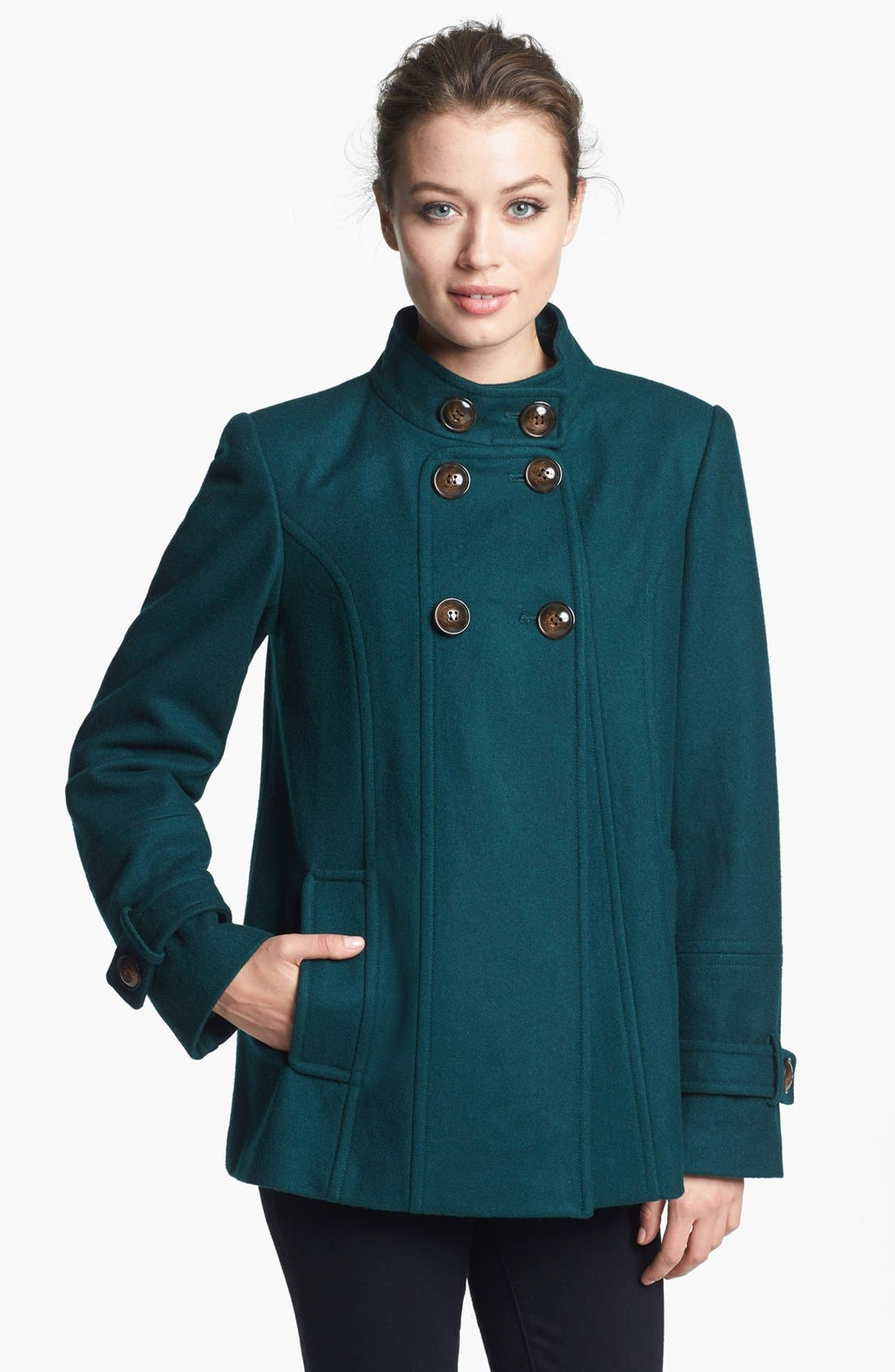 Main Image - Gallery Double Breasted Wool Blend Jacket (Petite)