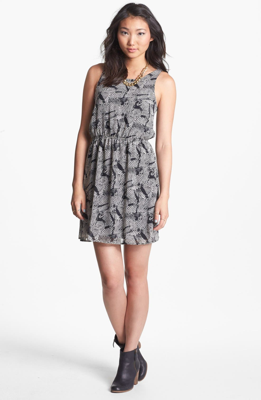 Alternate Image 1 Selected - dee elle Print Zip Back Skater Dress (Juniors)