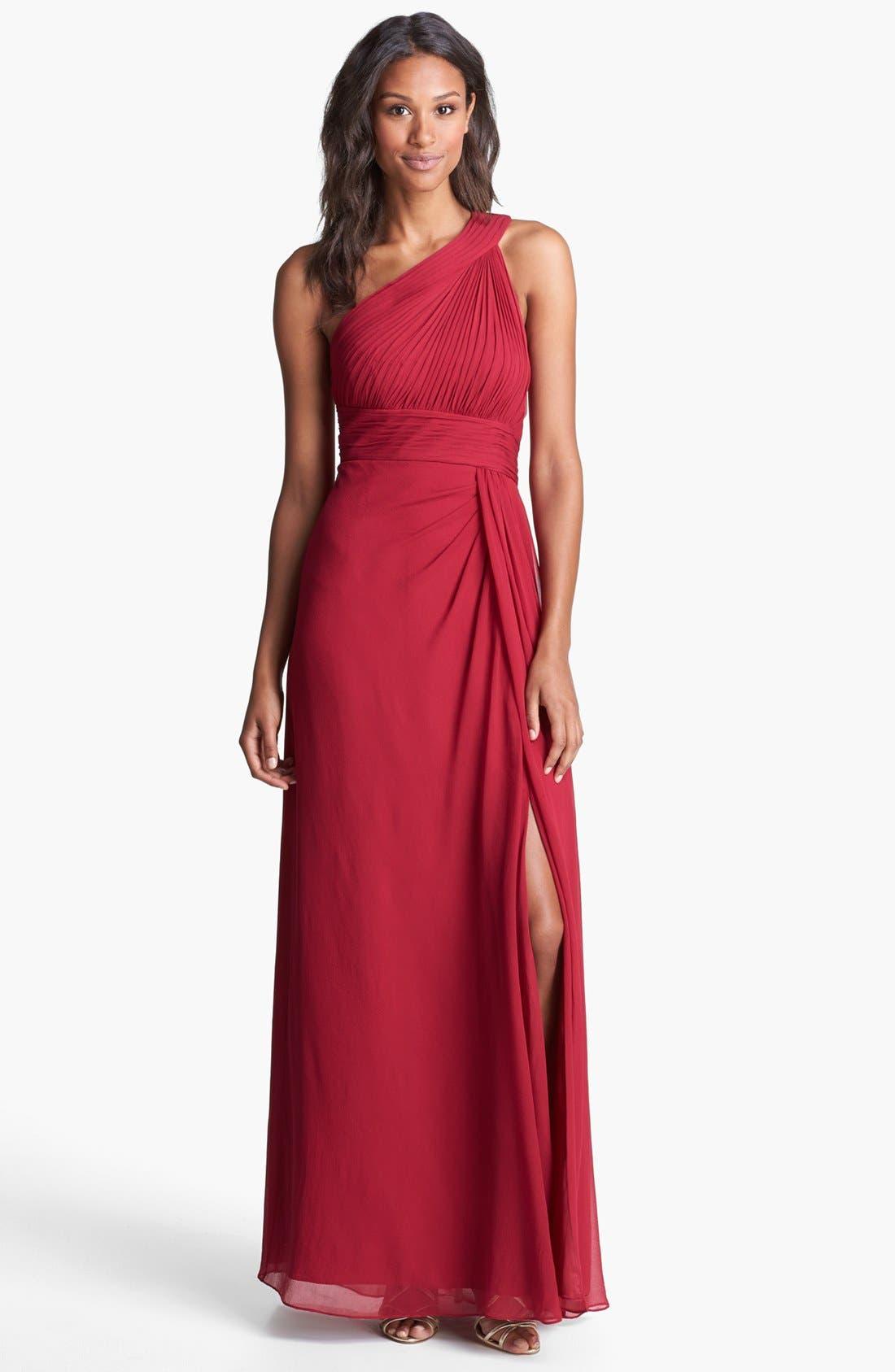 Main Image - Aidan Mattox One Shoulder Silk Gown