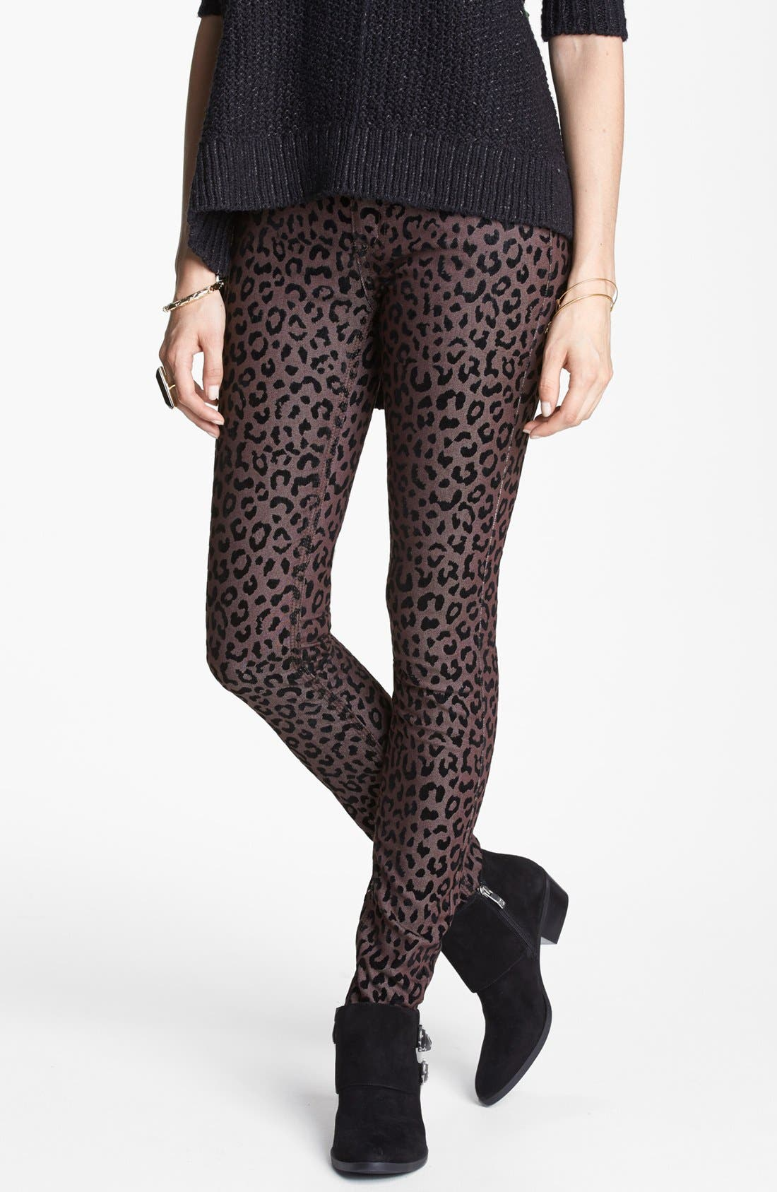 Alternate Image 1 Selected - Free People Leopard Flocked Ankle Pants
