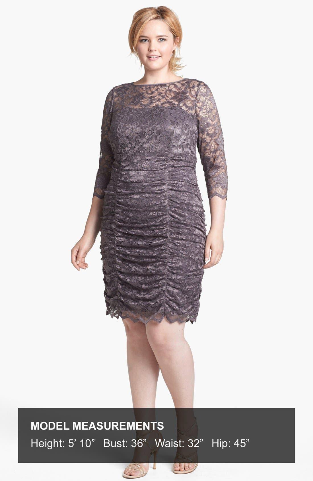 Alternate Image 4  - Eliza J Ruched Lace Dress (Plus Size)