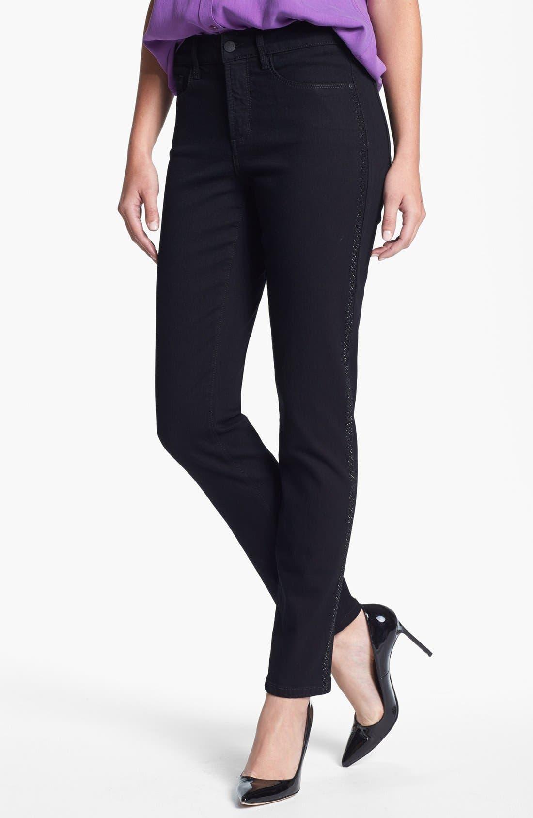 Main Image - NYDJ 'Alina' Embellished Trim Stretch Skinny Jeans (Black)