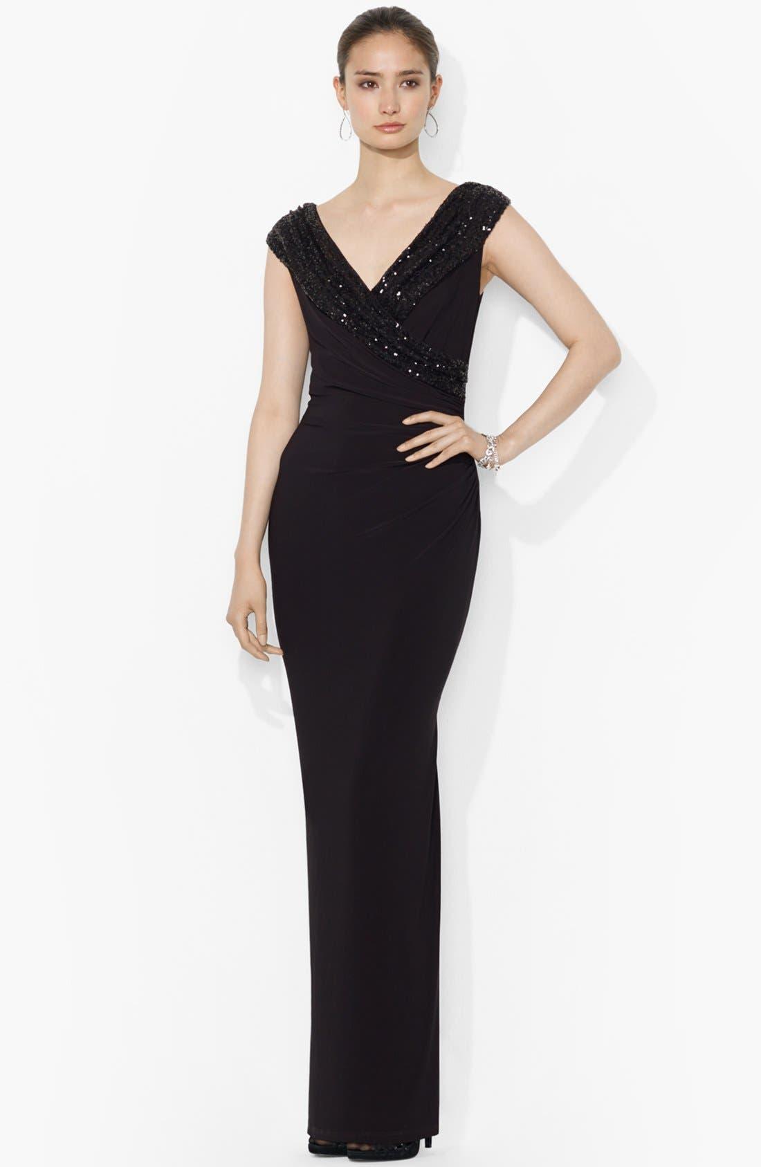 Main Image - Lauren Ralph Lauren Embellished Jersey Column Gown