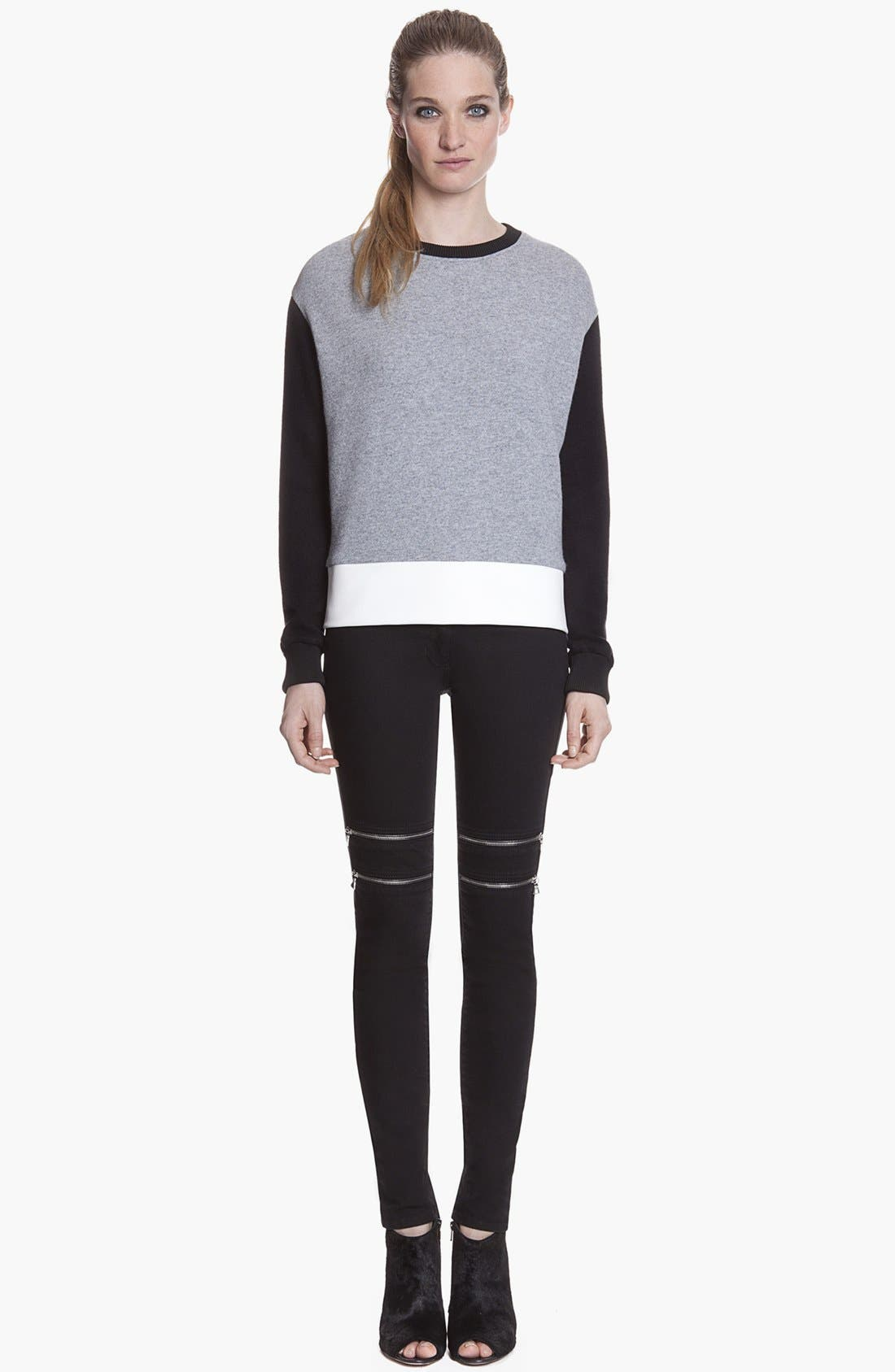 Main Image - sandro 'Precis' Zip Detail Colored Stretch Skinny Jeans (Noir)