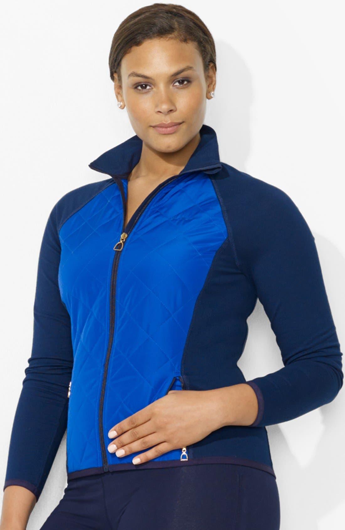 Alternate Image 1 Selected - Lauren Ralph Lauren Woven Front Track Jacket (Plus Size)