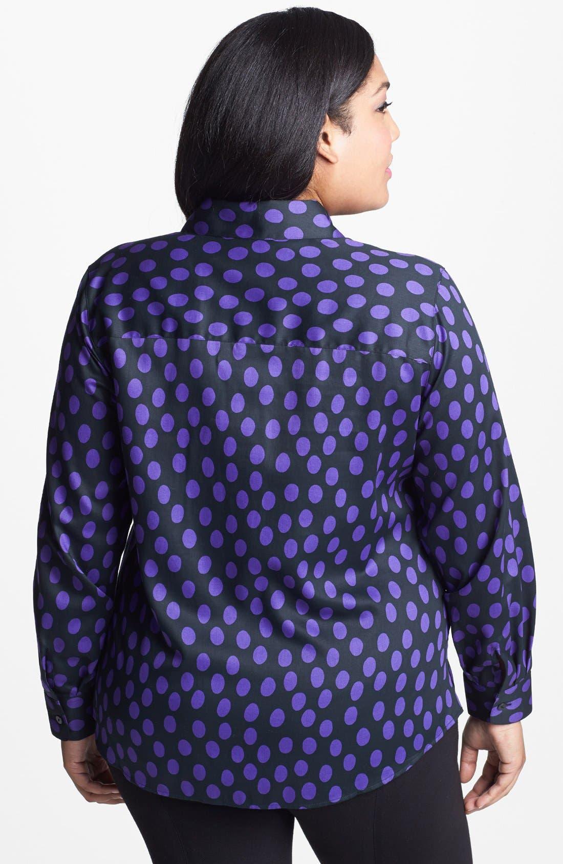 Alternate Image 2  - Foxcroft Dot Print Shaped Shirt (Plus Size)