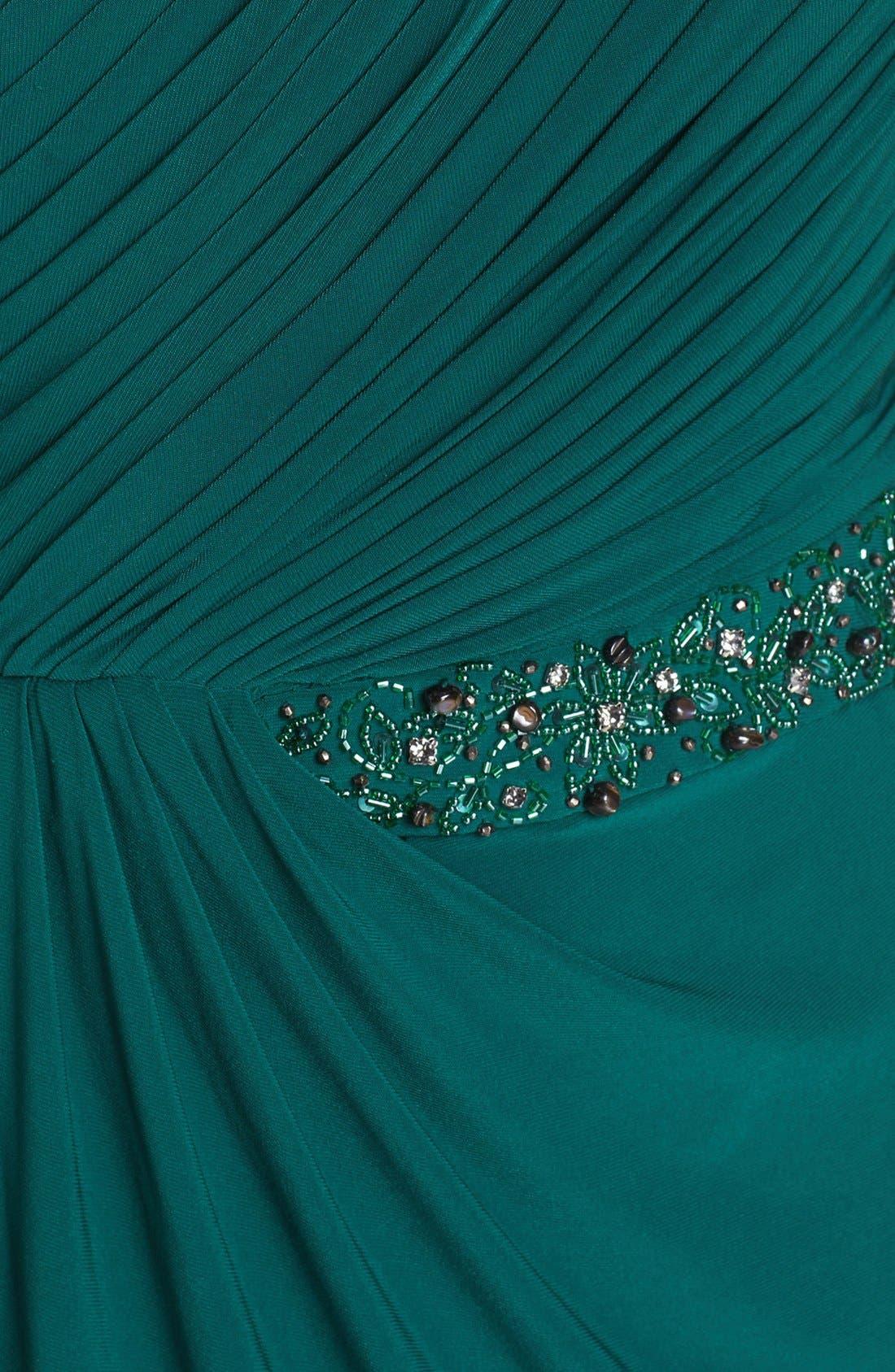 Alternate Image 3  - JS Boutique Beaded Waist One-Shoulder Jersey Gown