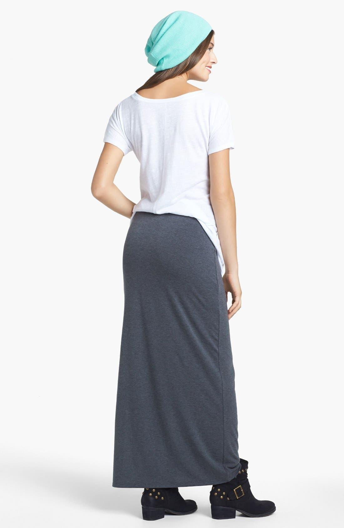 Alternate Image 2  - Lily White Heathered Side Slit Maxi Skirt (Juniors)