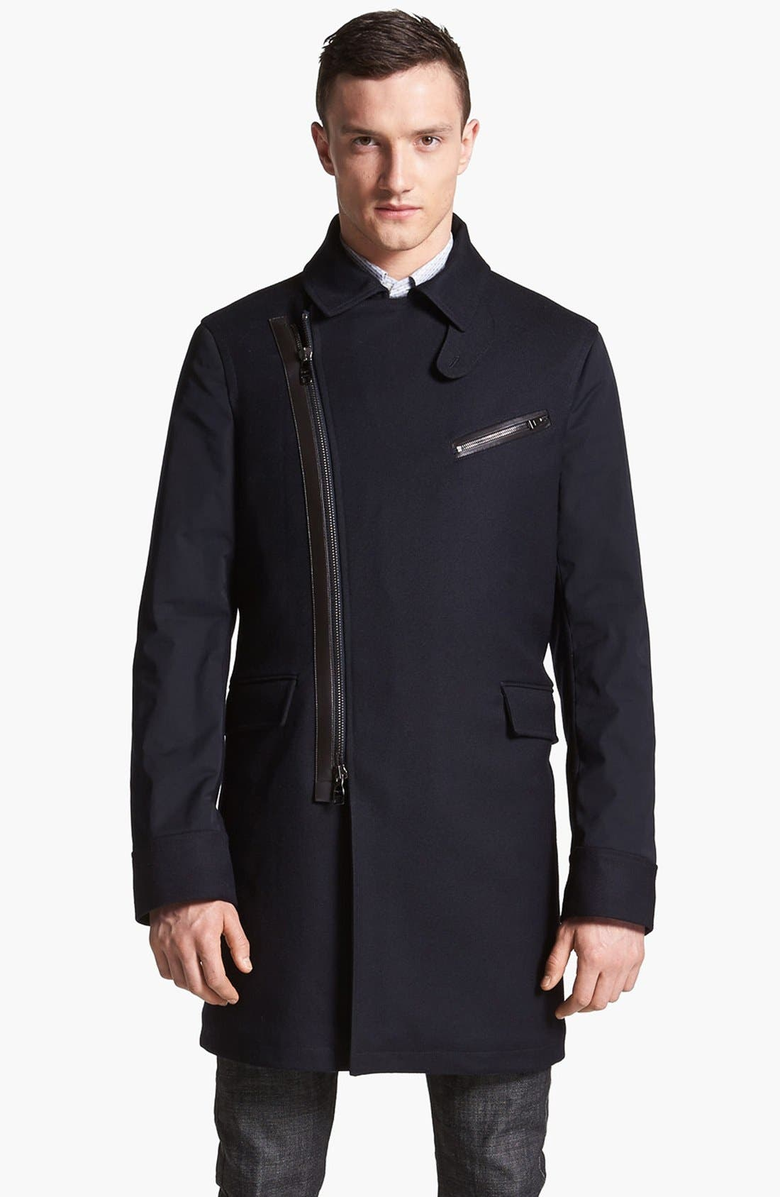 Main Image - Salvatore Ferragamo Leather Trim Coat