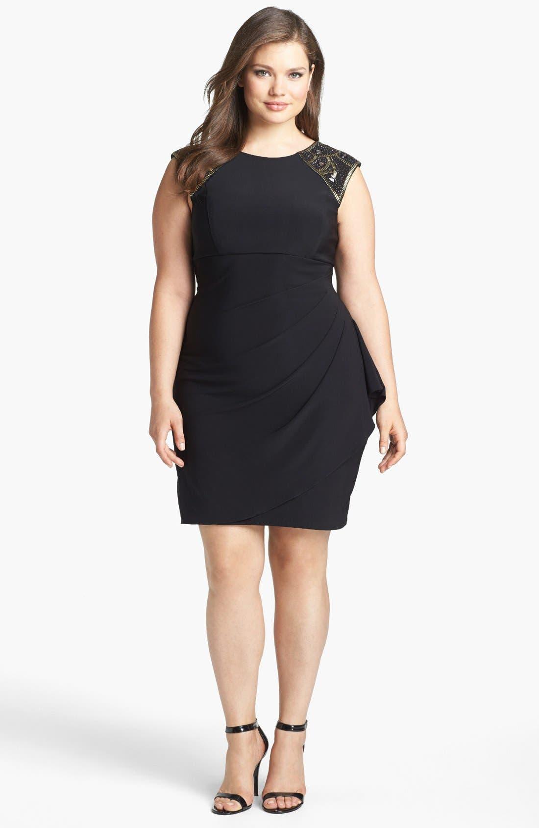 Alternate Image 1 Selected - Xscape Embellished Side Drape Sheath Dress (Plus Size)