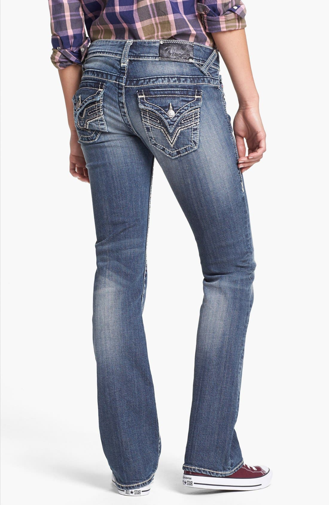 Alternate Image 1 Selected - Vigoss Embroidered Flap Pocket Bootcut Jeans (Medium) (Juniors) (Online Only)