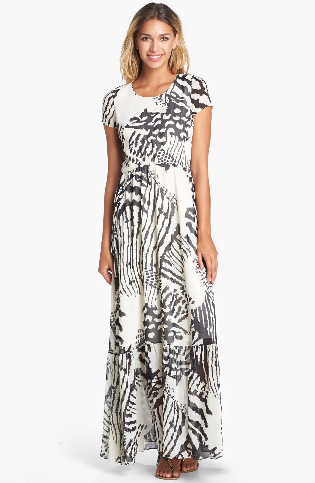 Alternate Image 1 Selected - Dress the Population 'Reese' Print Crepe Maxi Dress