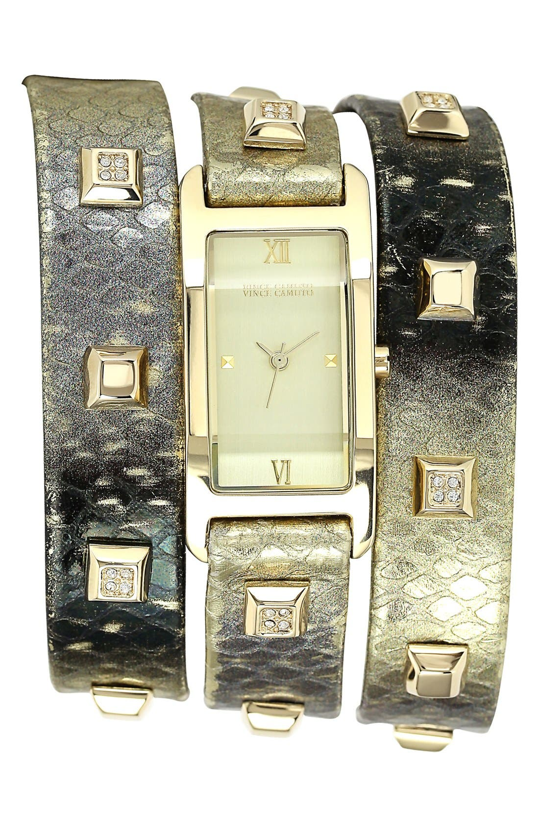 Main Image - Vince Camuto Triple Wrap Leather Strap Watch, 19mm x 40mm