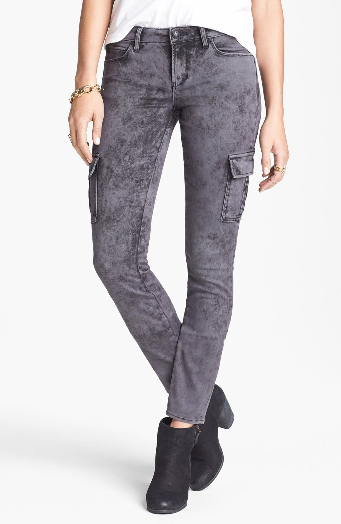Main Image - Articles of Society 'Mya' Acid Washed Cargo Skinny Jeans (Stone) (Juniors)