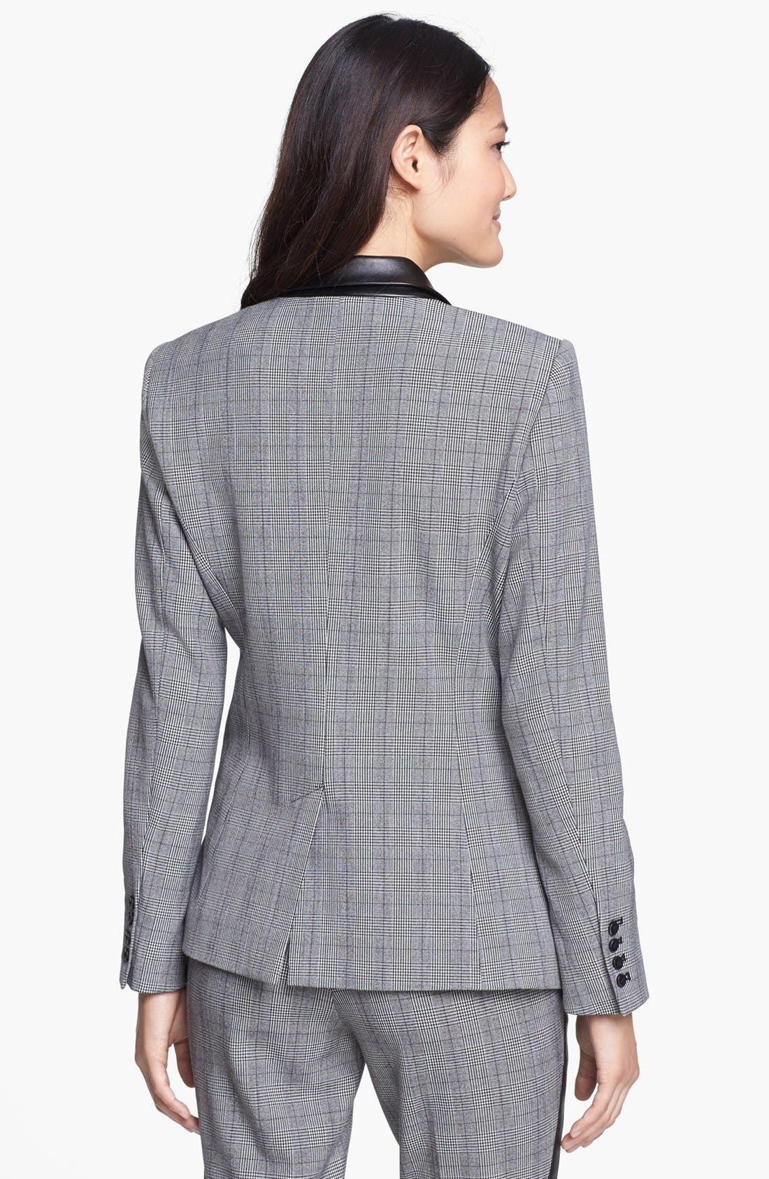 Alternate Image 2  - Vince Camuto Faux Leather Collar Plaid Blazer