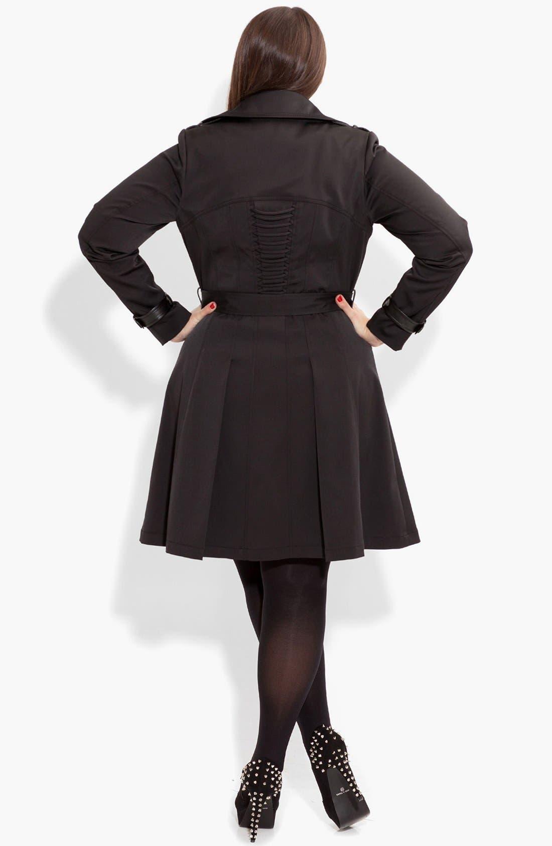 Alternate Image 2  - City Chic Corset Back Trench Coat (Plus Size)