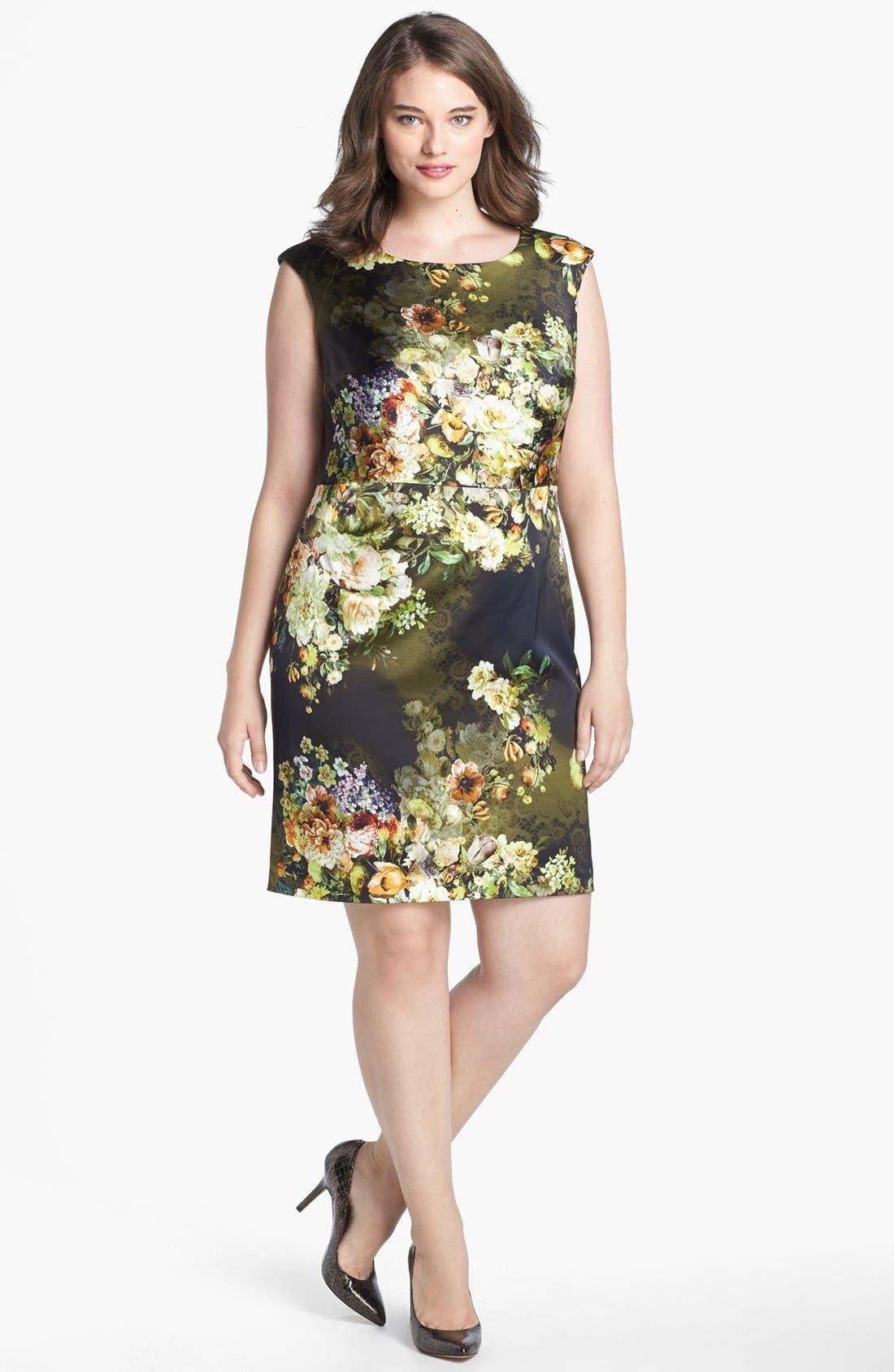 Main Image - Kay Unger Print Satin Sheath Dress (Plus Size)