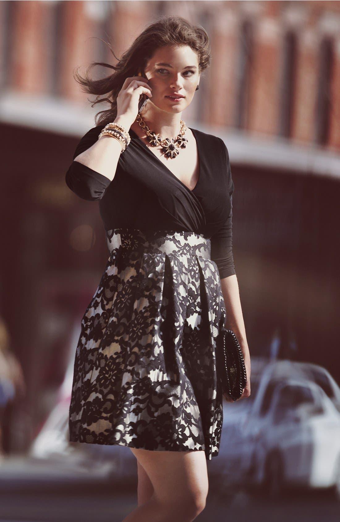 Alternate Image 5  - Eliza J Jacquard Skirt Dress (Plus Size)
