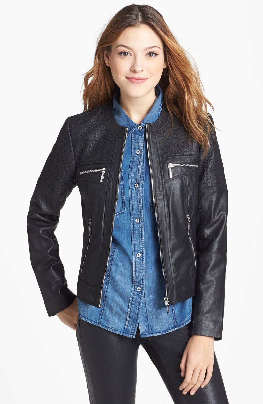 Main Image - Bernardo Embroidered Leather Scuba Jacket (Regular & Petite)