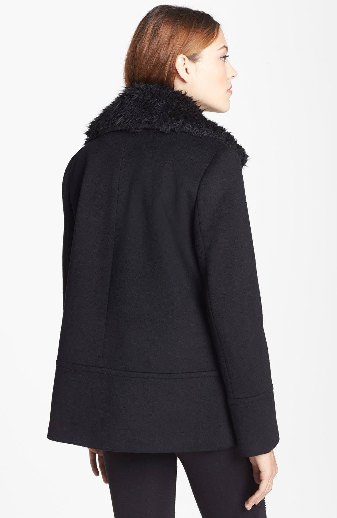 Alternate Image 4  - Calvin Klein Faux Fur Collar Wool Blend Moto Coat