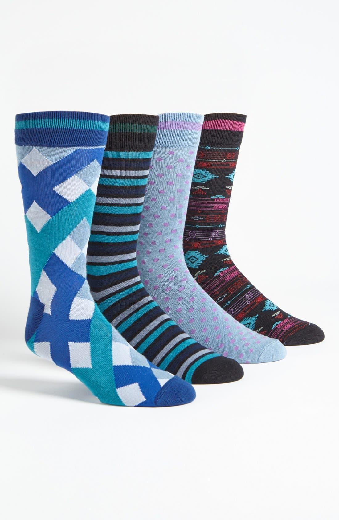 Alternate Image 1 Selected - Basic Sock 'Bottoms Out' Pattern Socks (4-Pack)
