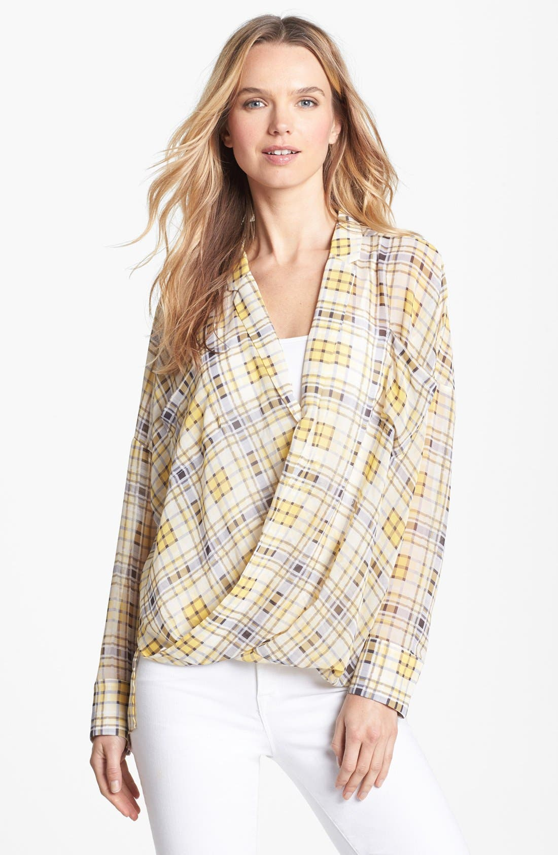 Alternate Image 1 Selected - Vince Camuto Plaid Wrap Blouse