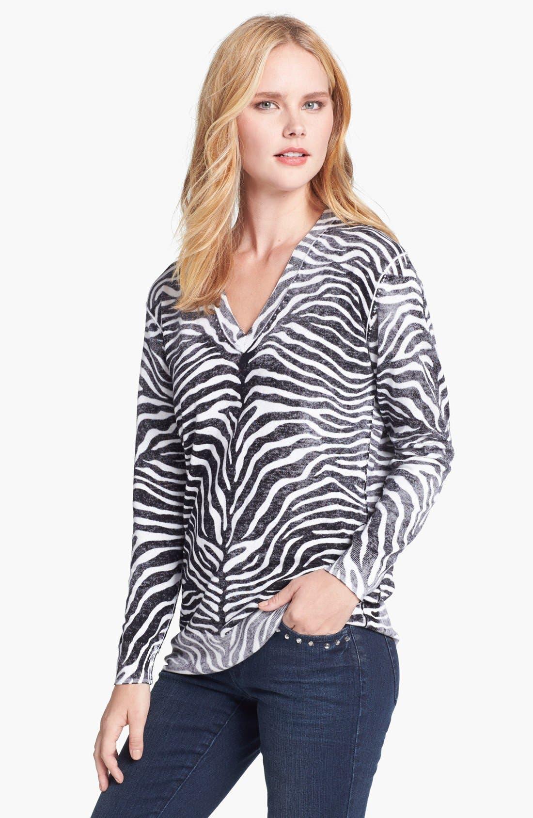 Alternate Image 1 Selected - MICHAEL Michael Kors Print V-Neck Sweater