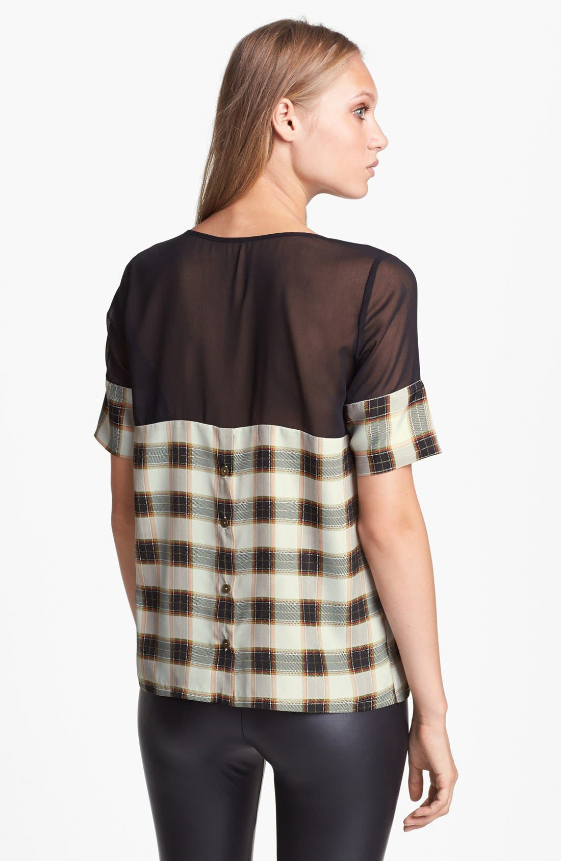 Alternate Image 2  - Like Mynded Chiffon Yoke Plaid Top
