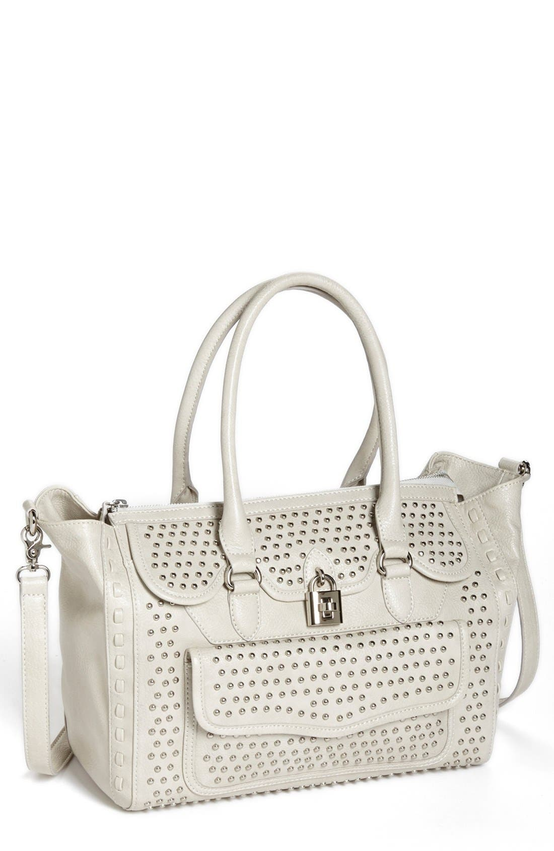 Alternate Image 1 Selected - Jessica Simpson 'Madison' Pebble Studded Faux Leather Satchel