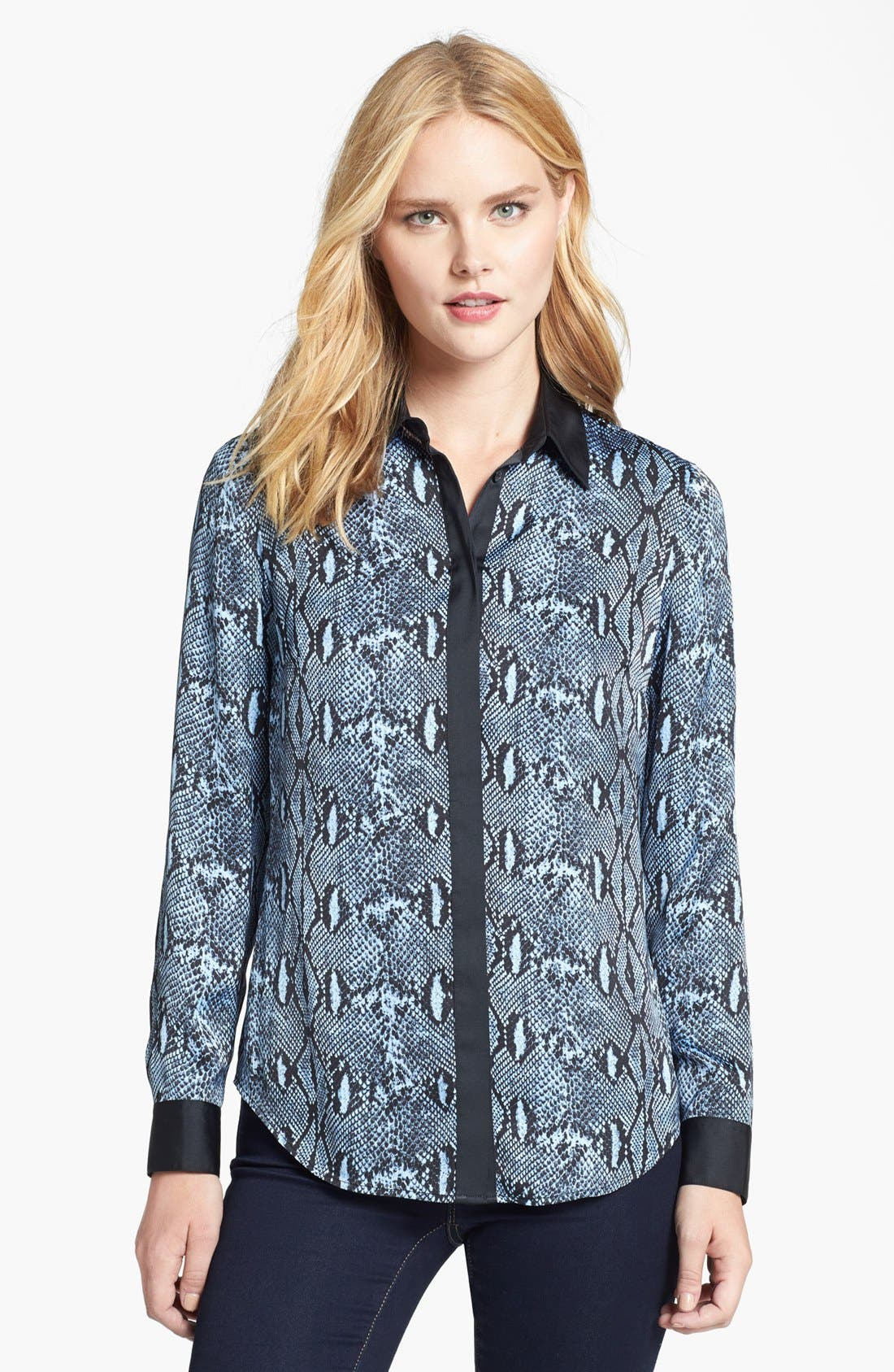 Alternate Image 1 Selected - MICHAEL Michael Kors Contrast Trim Print Blouse