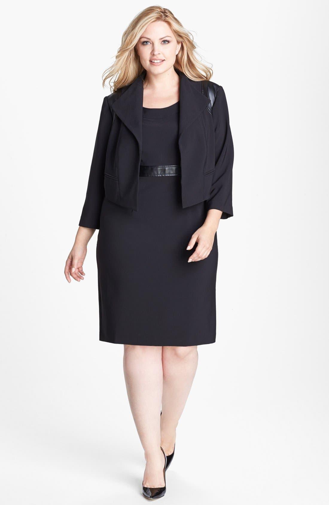 Main Image - London Times Faux Leather Trim Crepe Dress & Jacket (Plus Size)