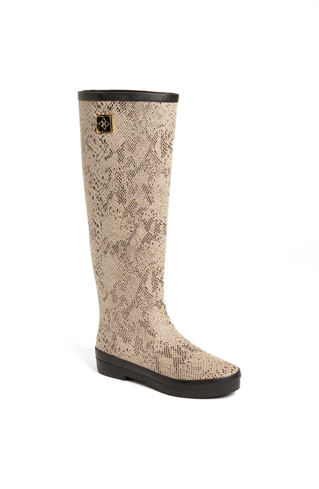 'Austin' Snake Embossed Rain Boot,                         Main,                         color, Sand