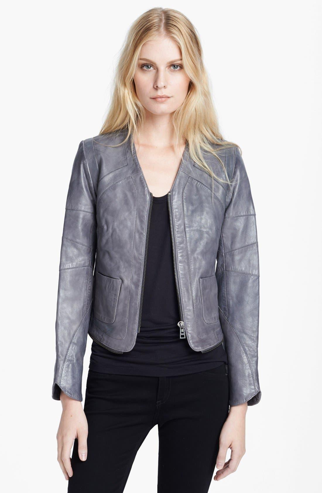 Alternate Image 1 Selected - Zadig & Voltaire 'Venci' Crop Leather Jacket