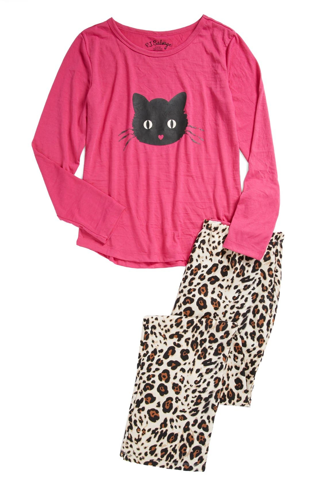 Alternate Image 1 Selected - PJ Salvage 'Here Kitty Kitty' Pajamas (Little Girls & Big Girls)