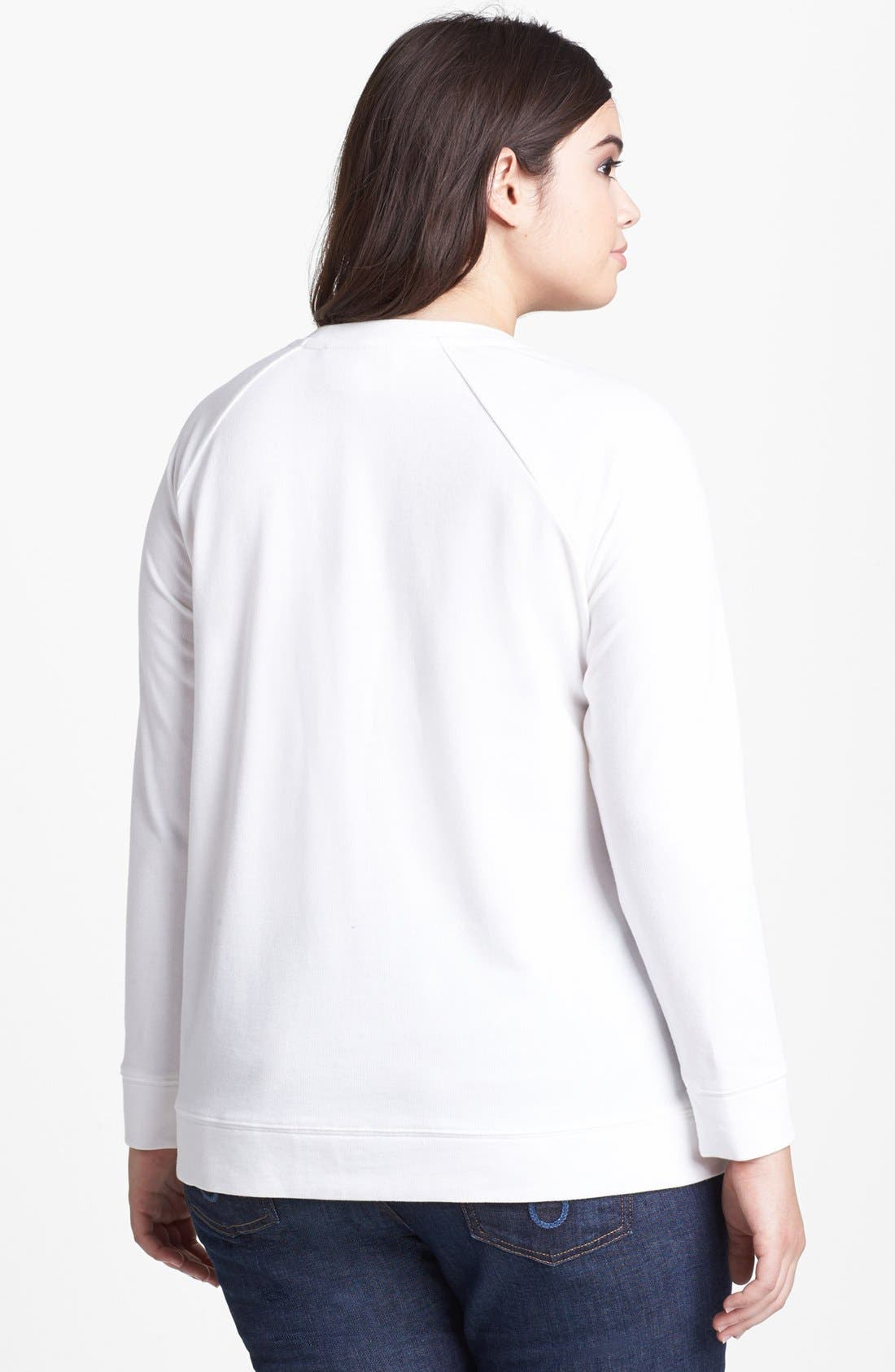 Alternate Image 2  - Two by Vince Camuto Lace Panel Sweatshirt (Plus Size)