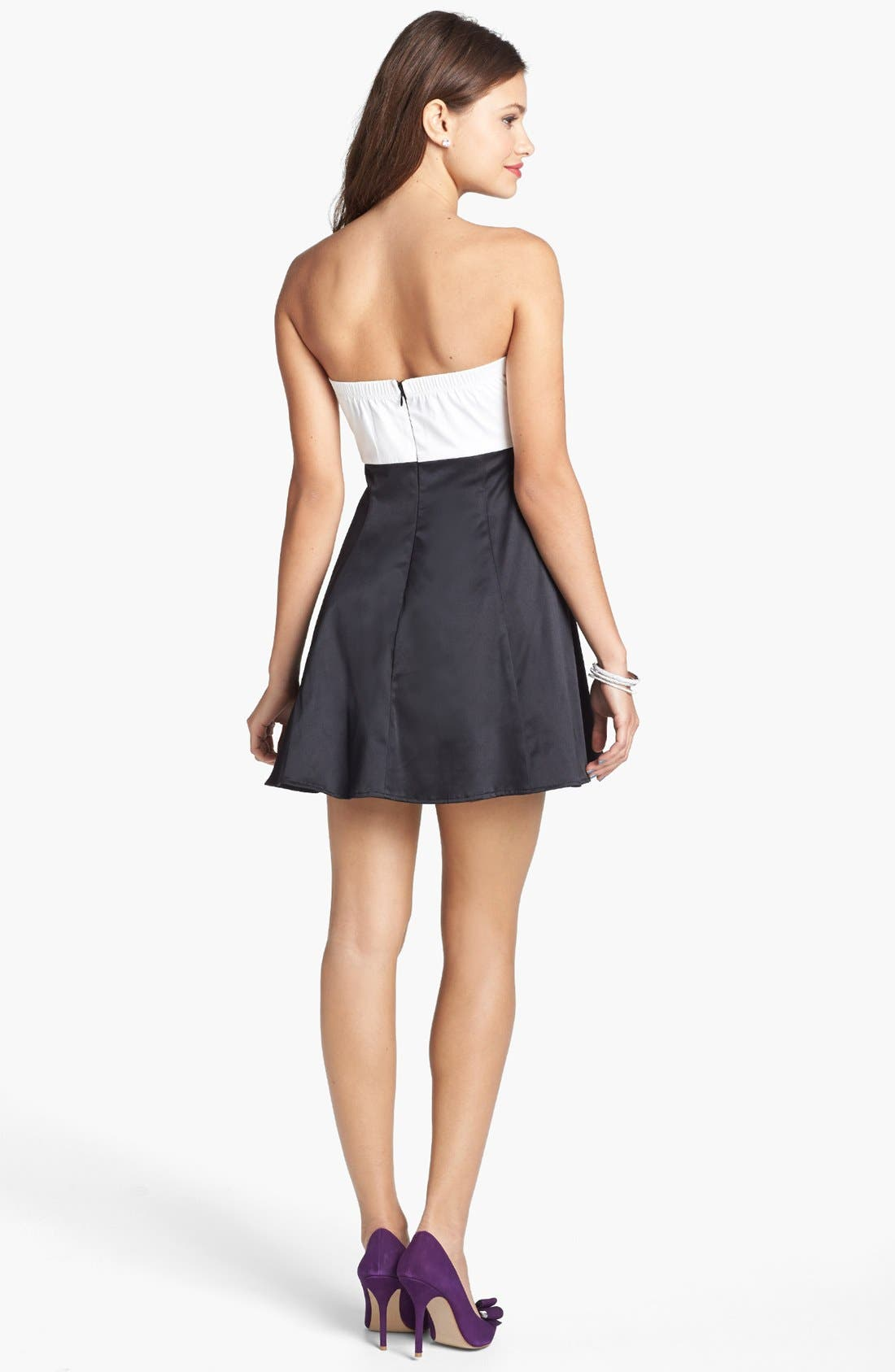 Alternate Image 2  - Trixxi Bow Front Strapless Dress (Juniors)