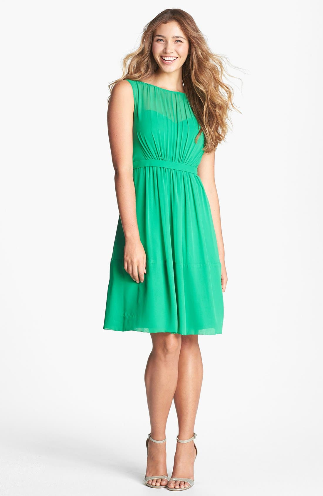 Alternate Image 1 Selected - Jenny Yoo 'Charlie' Pleat Chiffon A-Line Dress