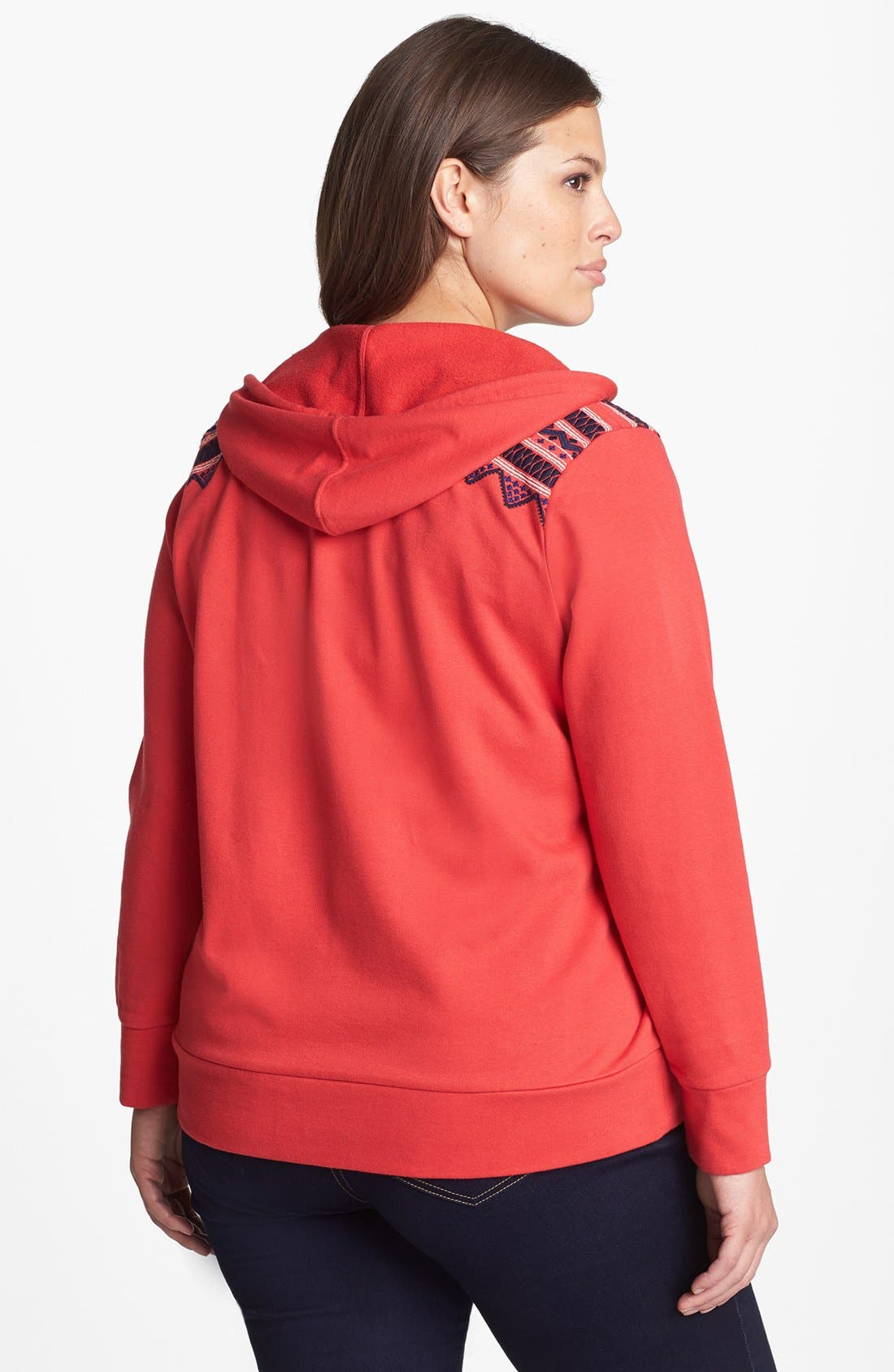 Alternate Image 2  - Lucky Brand Embroidered Trim Front Zip Hoodie (Plus Size)