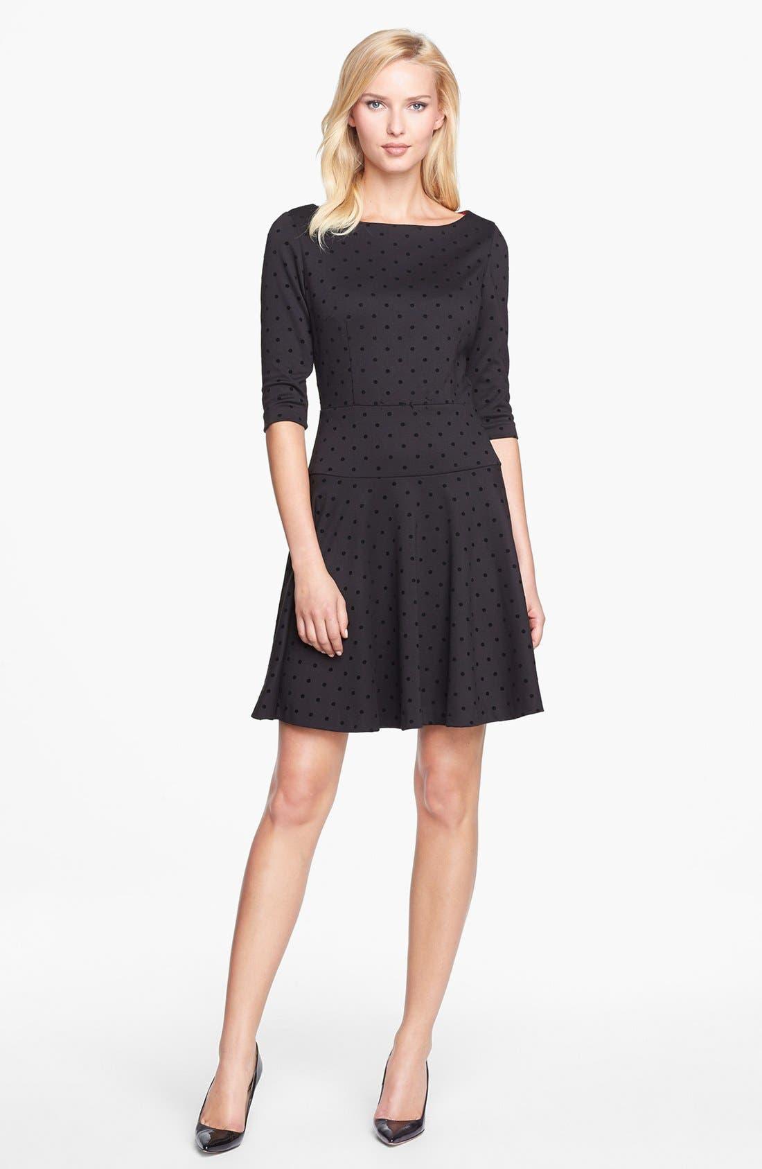 Main Image - Tahari Flocked Dot Ponte Knit Fit & Flare Dress