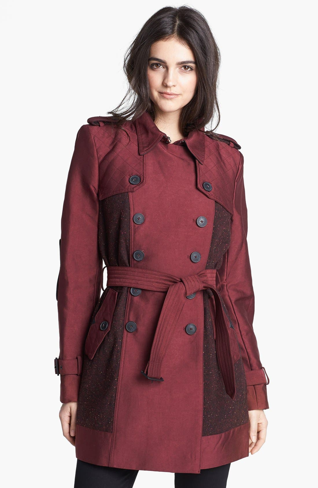 Main Image - Sam Edelman Double Breasted Wool Inset Trench Coat (Online Only)
