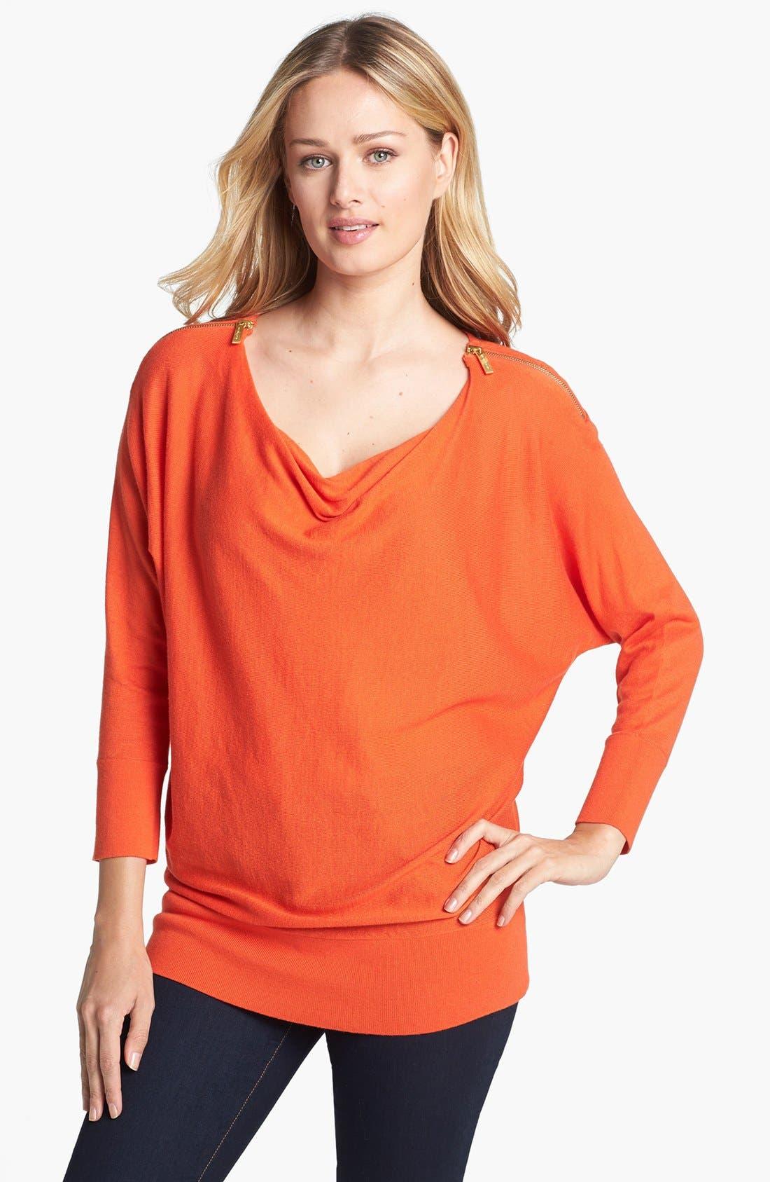 Main Image - MICHAEL Michael Kors Zip Shoulder Cowl Neck Sweater (Regular & Petite)