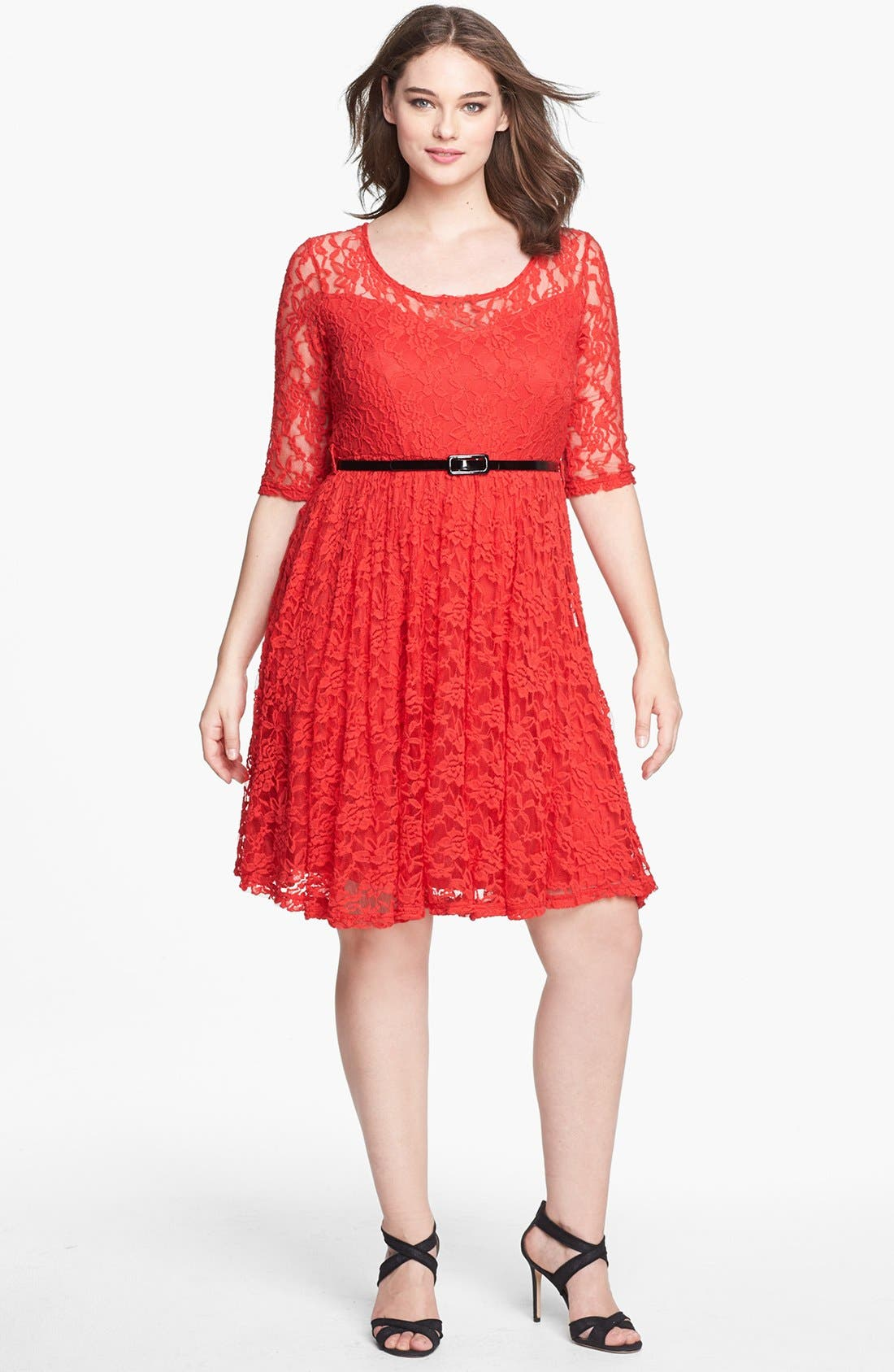 Main Image - City Chic Belted Lace Fit & Flare Dress (Plus Size)