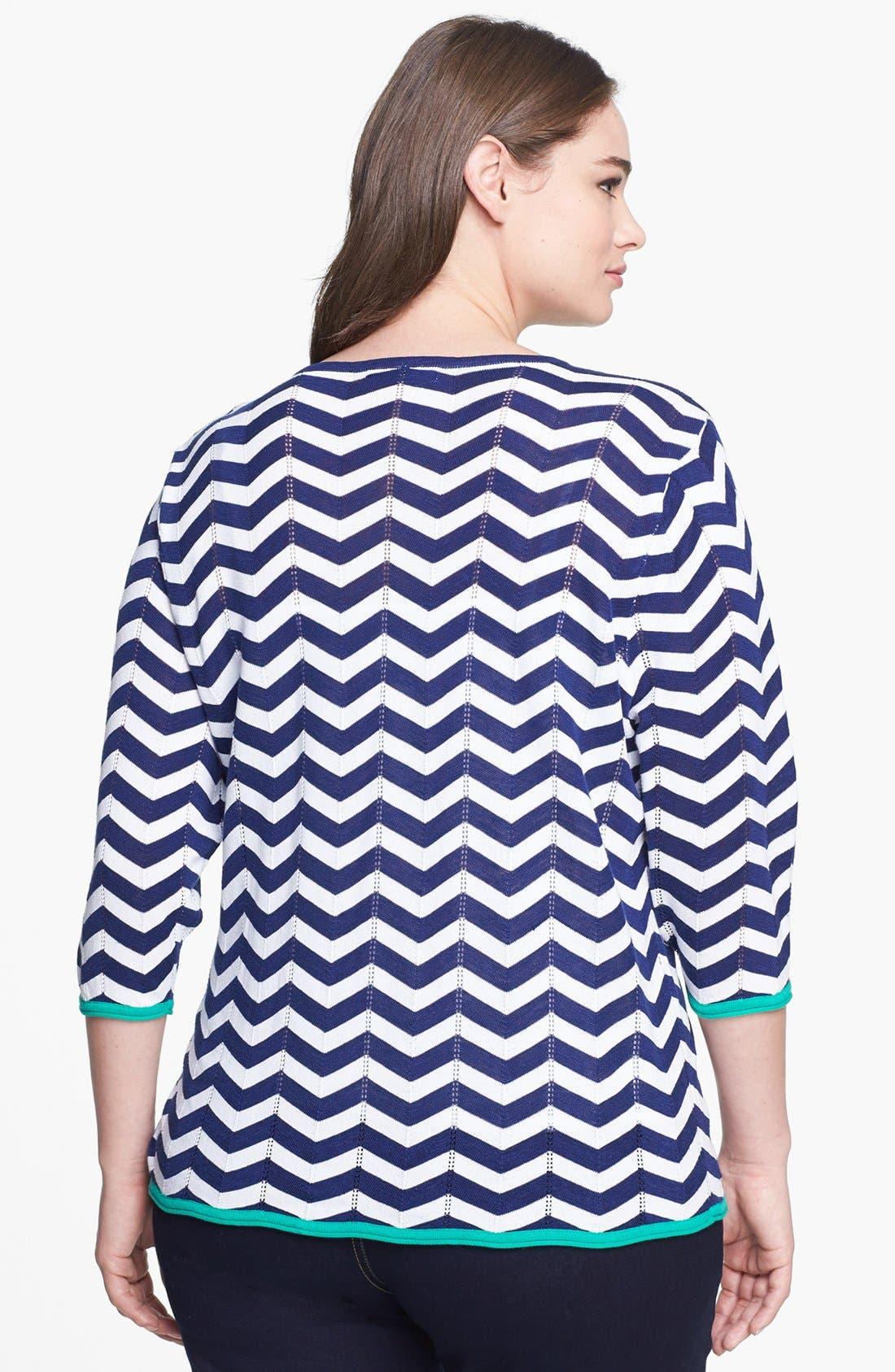 Alternate Image 2  - Foxcroft Chevron Stripe Pullover Sweater (Plus Size)