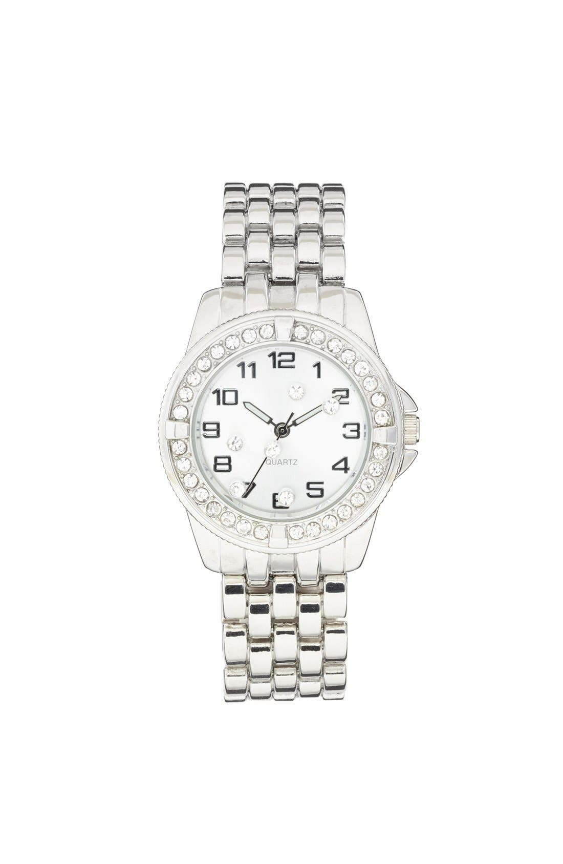Alternate Image 1 Selected - Titanium Rhinestone Watch, 35mm (Juniors) (Online Only)