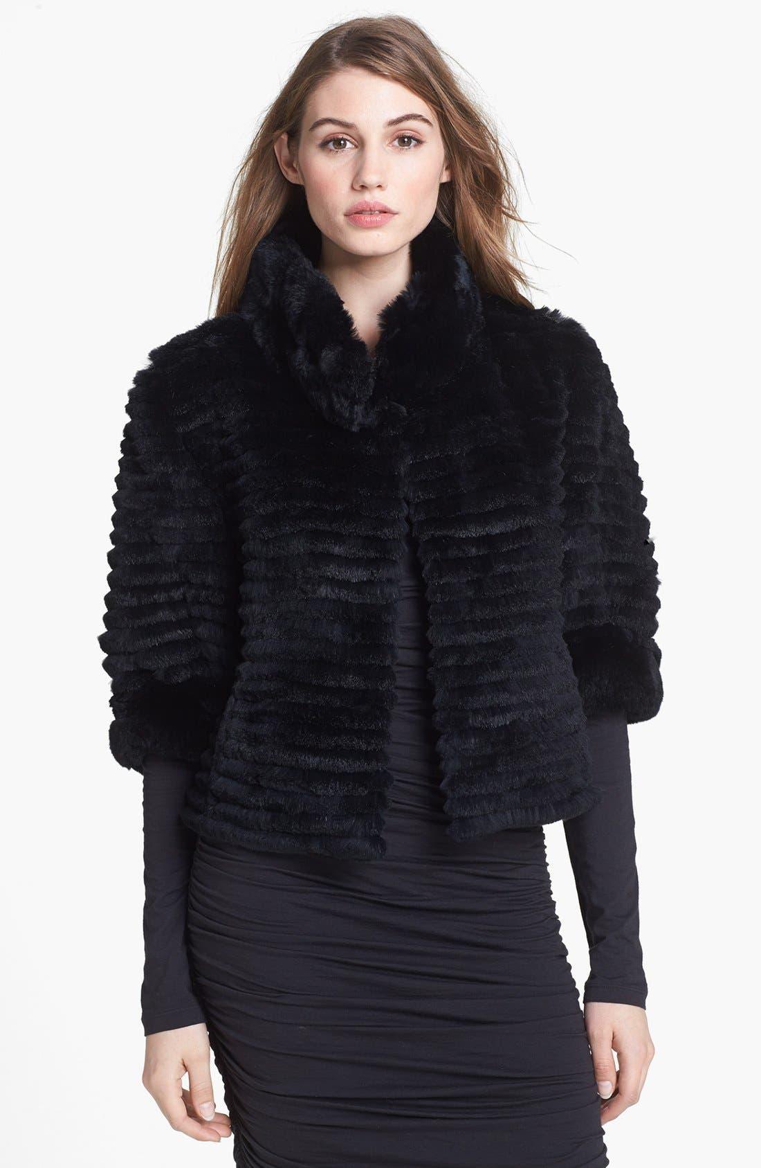 Genuine Rabbit Fur Crop Jacket,                         Main,                         color, Black