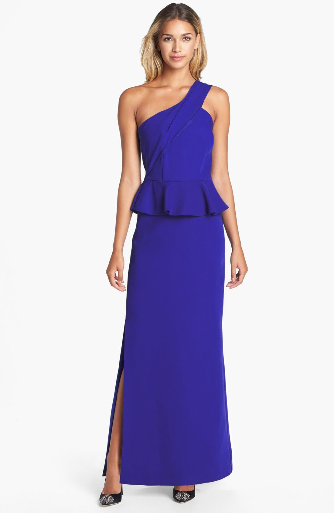 Alternate Image 1 Selected - Laundry by Shelli Segal One-Shoulder Peplum Gown
